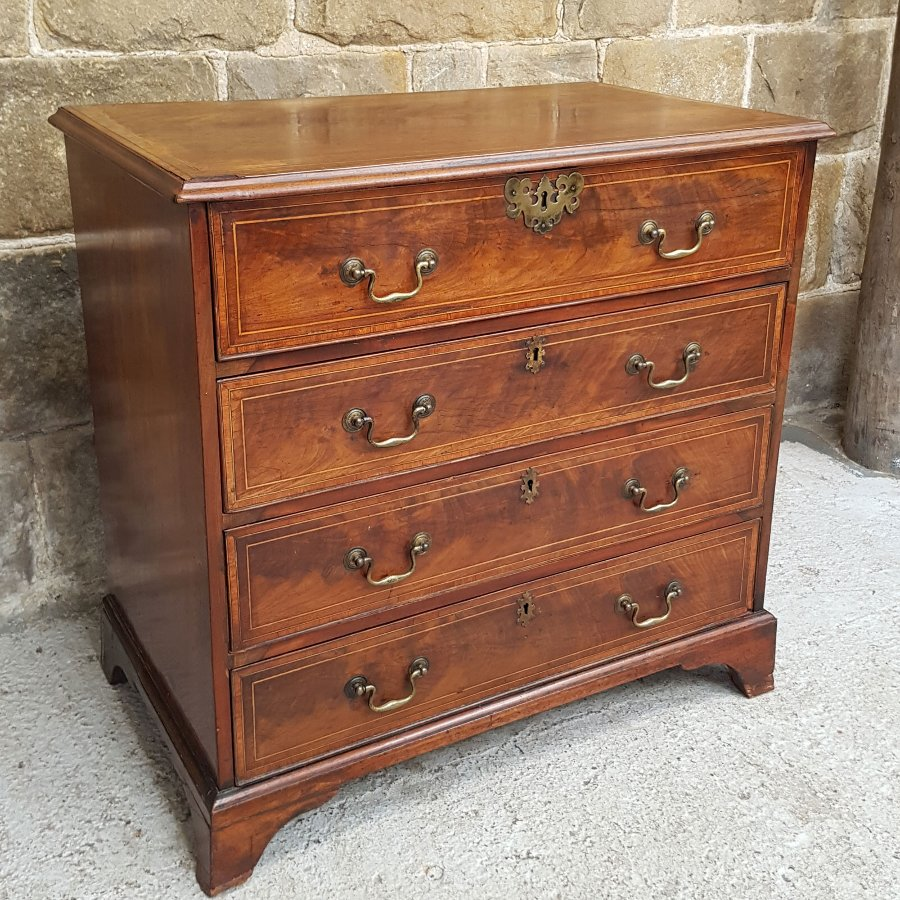 Antique George III Mahogany Small Secretaire 4 Height Chest of Drawers - Circa 1780