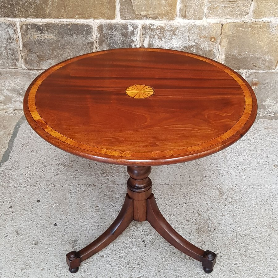 George III Mahogany Inlaid & Marquetry Tripod Small Supper Table C18th