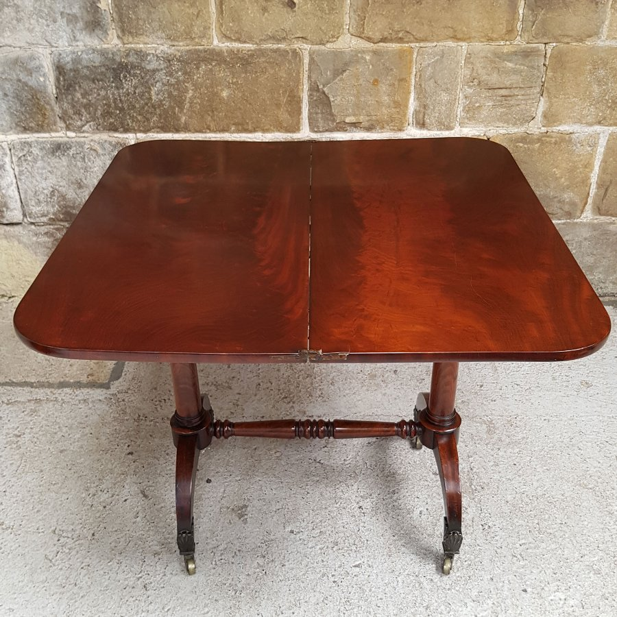 Antique Early Victorian Mahogany Fold Over Tea Table Circa 1850