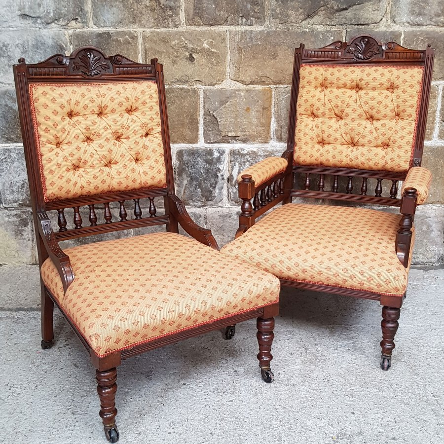 Victorian Walnut Framed Pair of Ladies & Gents Armchair & Chair Circa 1880