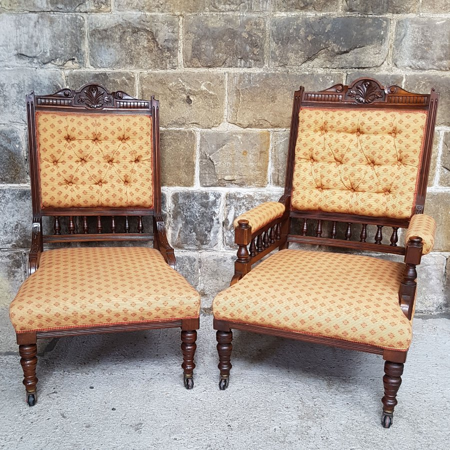 Antique Victorian Walnut Framed Pair of Ladies & Gents Armchair & Chair Circa 1880