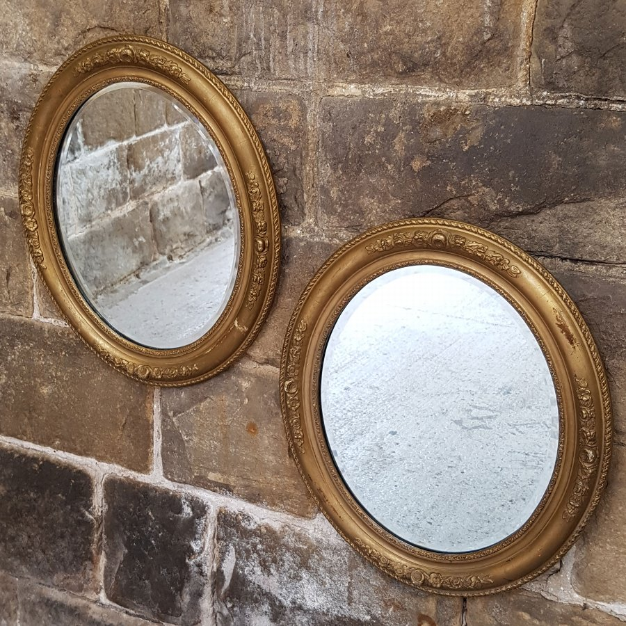 Pair of C18th Style English Gilt Framed Oval Wall Mirrors - Early C20th