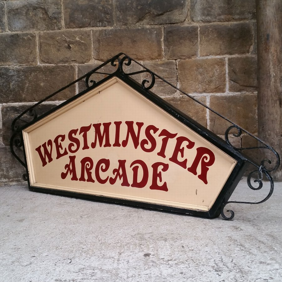 Antique Wrought Iron & Panelled Large Traditional Shop Sign