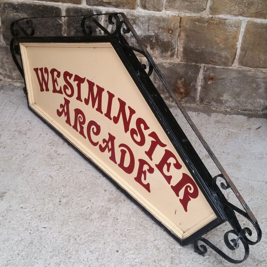 Antique Antique Wrought Iron & Panelled Large Traditional Shop Sign