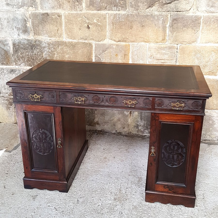 English Victorian Rosewood Carved Pedestal Kneehole Desk Circa 1870