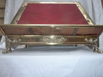 Antique Masonic Heavy Brass Foliate Decorated Book Stand on Paw Feet