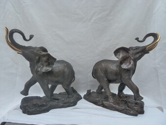 Antique 2 Franklin Mint - Giant of the Serengeti Bronze Elephants 24 kt Gold Plate Tusks