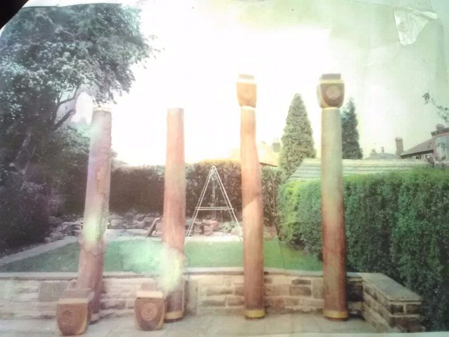 4 Oak Architectural Columns & Column Heads, Collection From Harrogate, UK Only.
