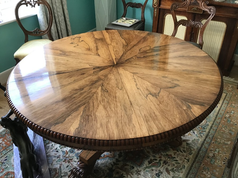 Antique Regency  Rosewood Dining Table with Six Dining Chairs