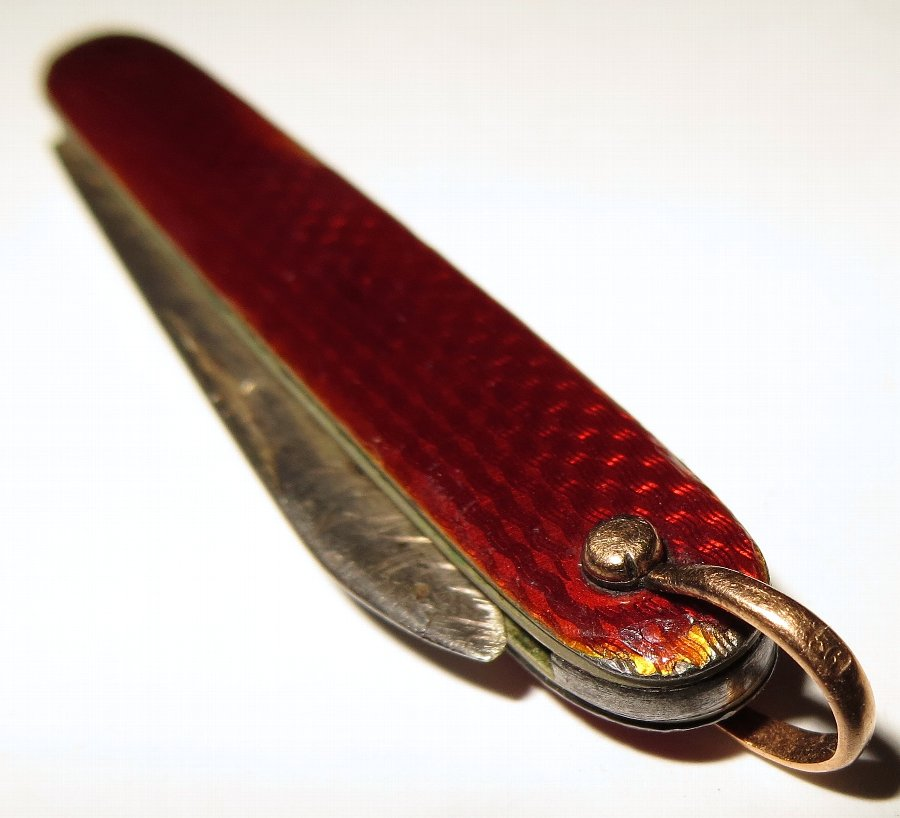 Antique 1900's Russian guilloche enamel '91' SILVER & 14ct GOLD fruit knife fob St Petersburg - G...