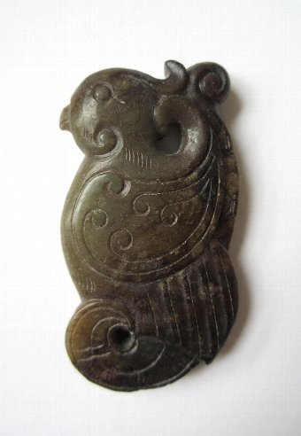 Antique Chinese carved jade : Bird possibly a Parrot