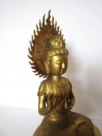 Antique Chinese antique brass Gilt Buddha