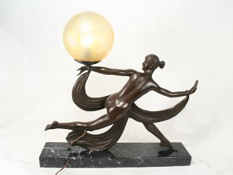 Antique Art Deco Ouline Lady  Sculpture Lamp