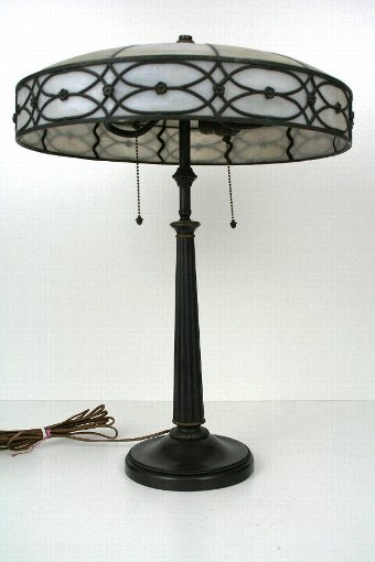 Antique American Leaded Glass Table Lamp