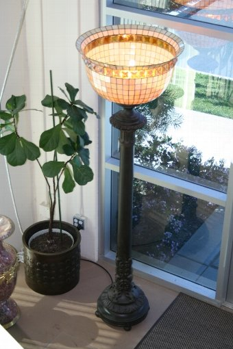 Antique Iron Torchieres with Large Lead Glass Shade