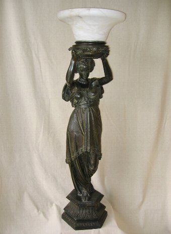 Antique Art Nouveau Lady Figural Lamp Post