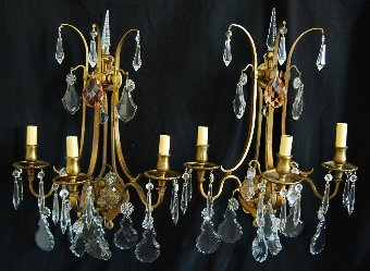 Antique European Crystal 3-Arm Candelabra Sconce Lights