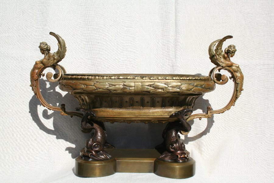 Antique Empire Dolphin & Female Winged French Ormolu Bronze Bowl