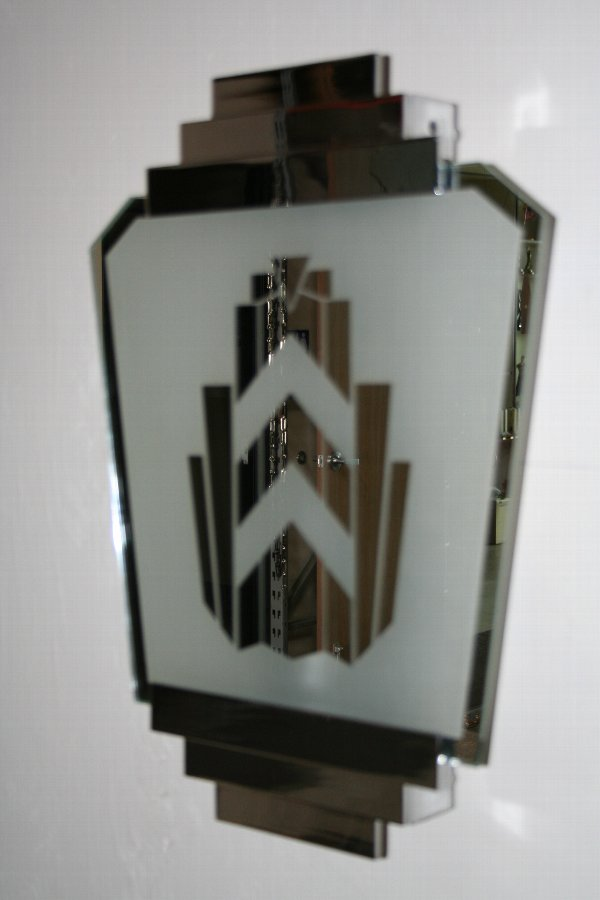 Art Deco Wall Sconce with Glass Mirror Shade