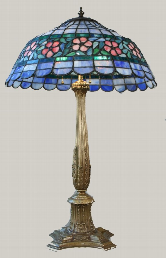 Early American Lead Glass Flower Lamp