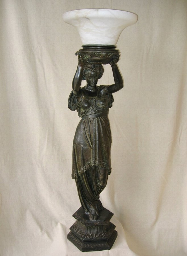 Art Nouveau Lady Figural Lamp Post