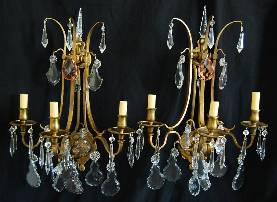 European Crystal 3-Arm Candelabra Sconce Lights