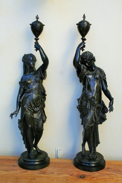 Large Art Nouveau Newel Post Male & Female Figurines