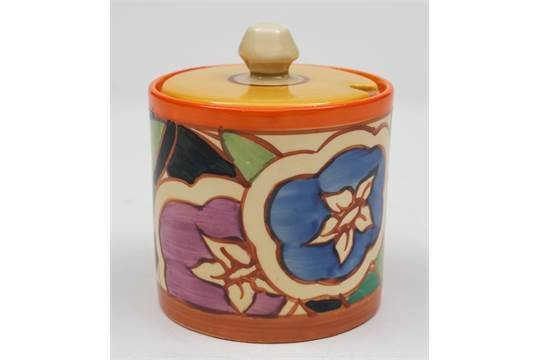 Clarice Cliff Pottery Preserve Pot with original Lid Gardenia Fantasque