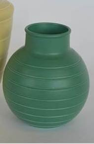 "WEDGWOOD: A green ground vase marked ""Keith Murray"