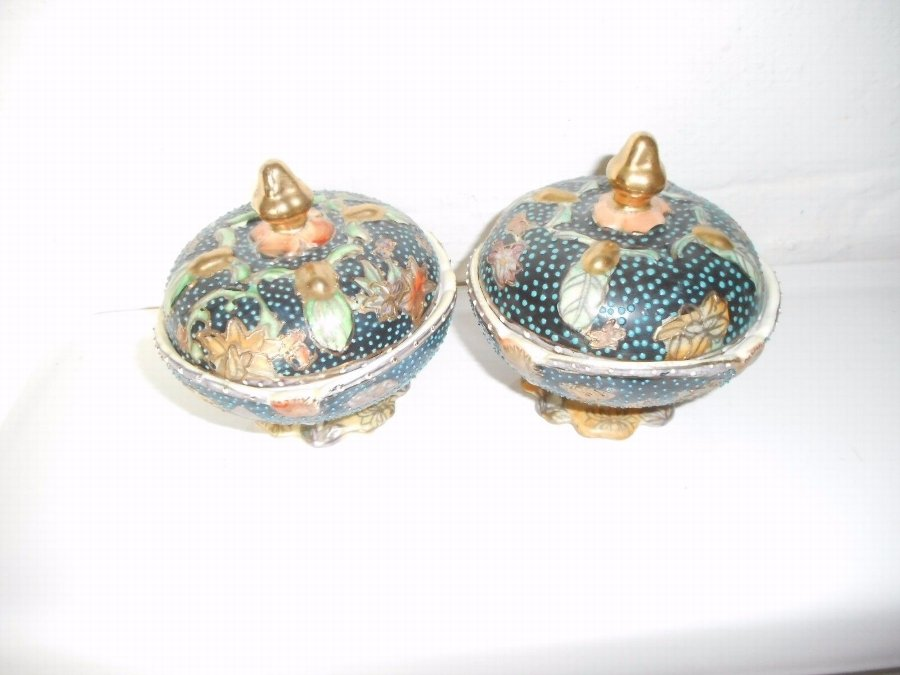 Chinese Bowls & Covers Blue/Green Gold Dots Marks