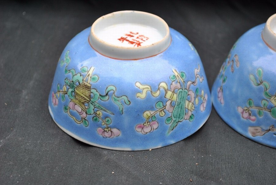 famille rose chinese bowls