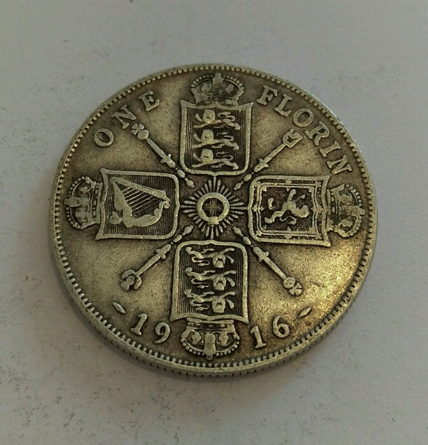 1916 King George V Silver Florin / Two Shilling Coin