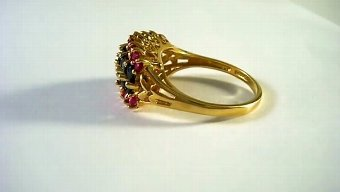 Antique 14 kt gold ring with sapphires and rubies