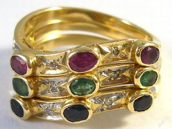 Antique Stackable 14 kt gold ring with diamonds and gems