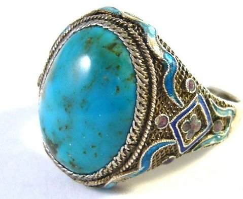 Silver Ring with turquoise from 1890