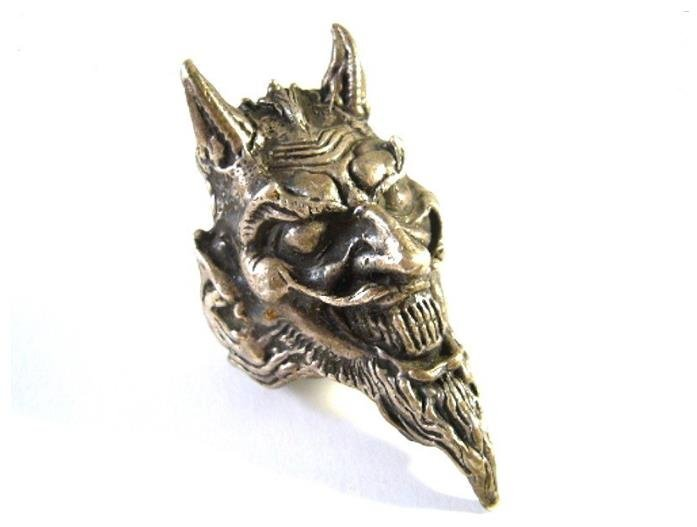 Unique antique silver ring devil