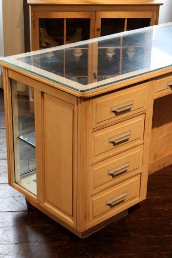 Antique Stylish 1930s English Bleached Desk / Display Cabinet