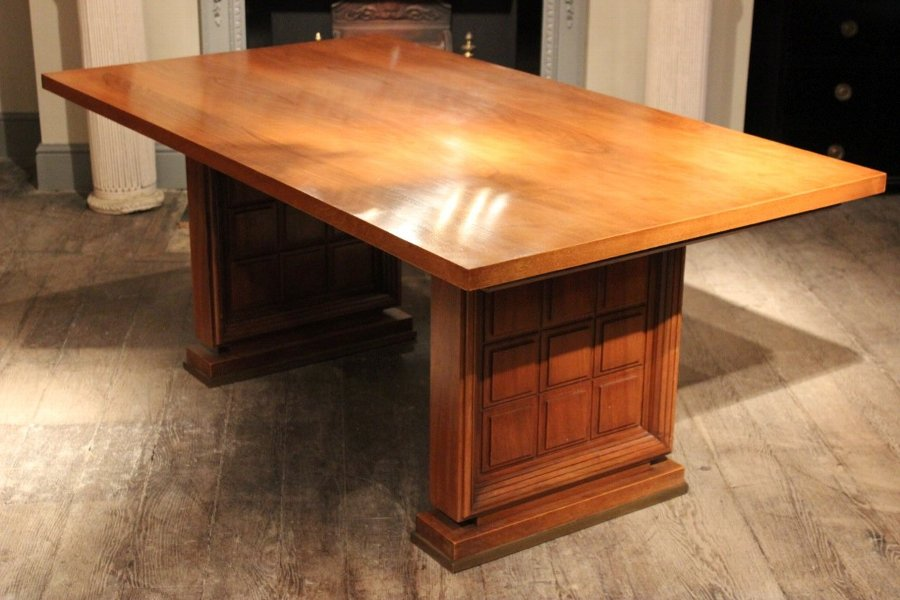 Stylish 1940s Walnut Dining Table / Desk - Dining Tables