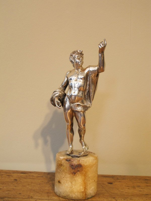 19th Cent Silver Bronze Figure of a Faun with Provenance