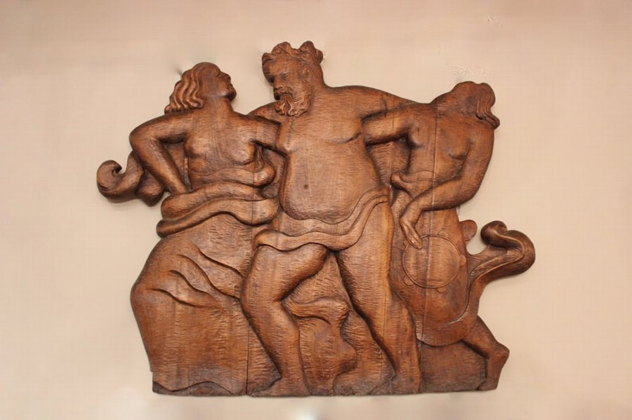 Antique Circa 1944 Wall Carving of Greek Mythology
