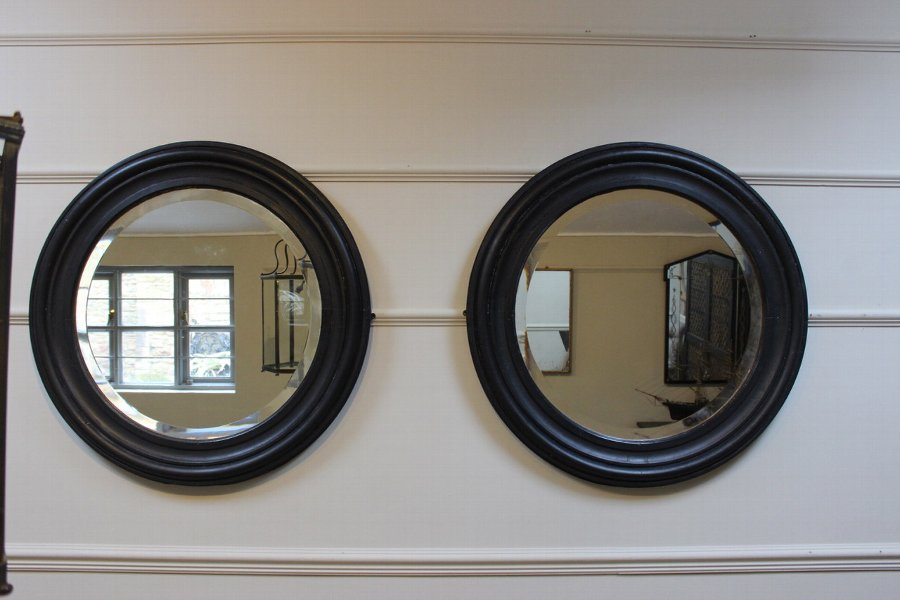 Large pair of English Painted Round Mirrors