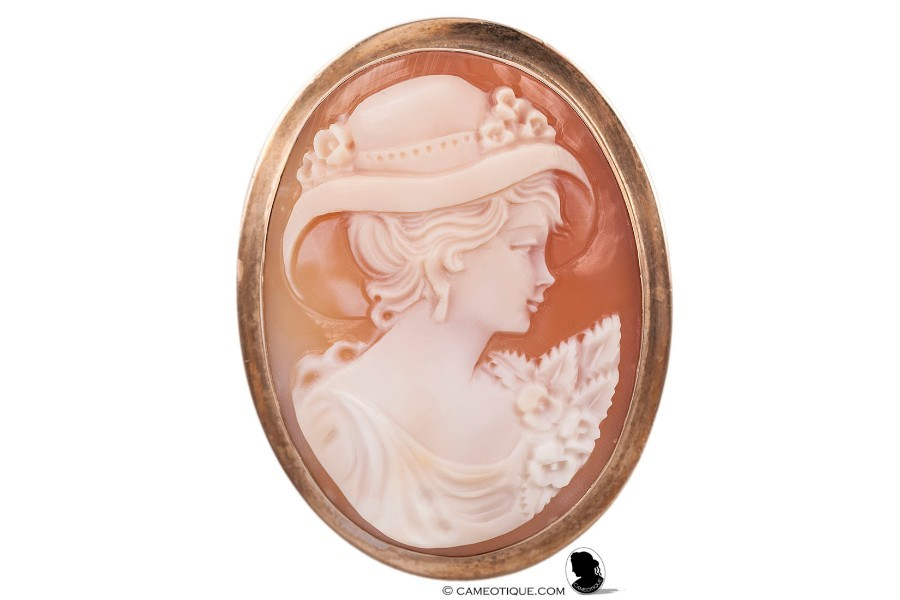 Vintage Carnelian shell cameo brooch with charming depiction of a girl in a hat set in a hallmarked 9kt gold mount.  FREE WORLDWIDE SHIPPING