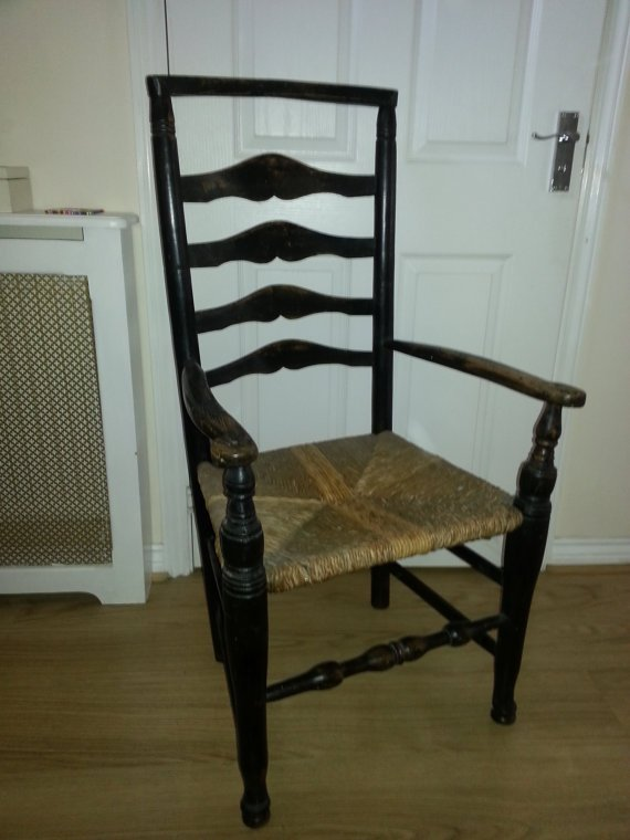 Antique 19th C Ladderback Elbow Chair