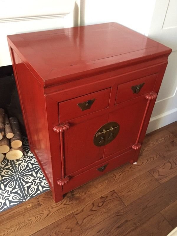 red side tables x2