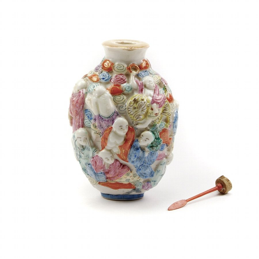 Eighteen Luohan (18 Lohan) Moulded Porcelain Snuff Bottle