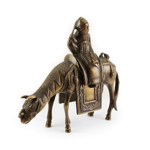 Antique Chinese bronze censer in form of Du Fu riding his mule