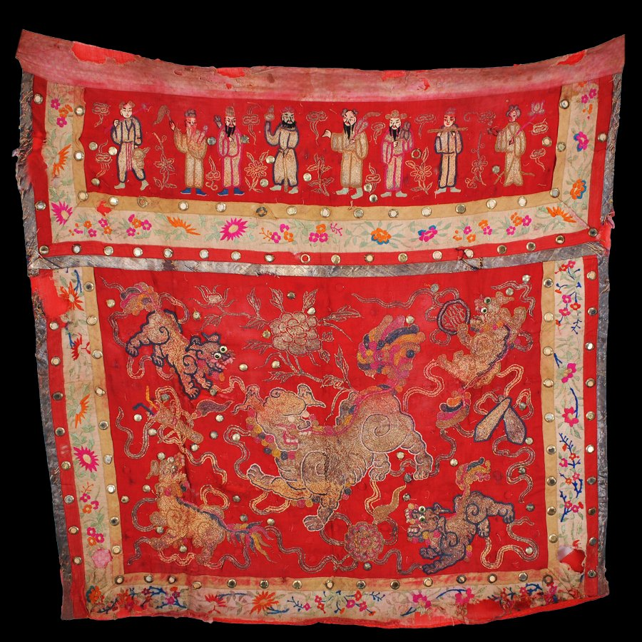 Antique Banner of Eight Immortals and Guardian Lions, Embroidery on Silk and Cotton