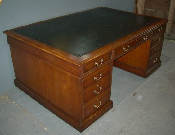 DESK: EX-MOD / ARMY / WAR OFFICE; PEDESTAL, ONE SIDE CUPBOARD, OTHER SIDE DRAWERS, LEATHERETTE TOP, 20TH CENTURY
