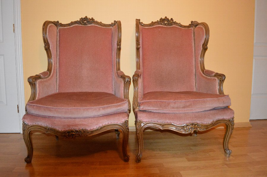 Antique 2 Walnut Armchairs