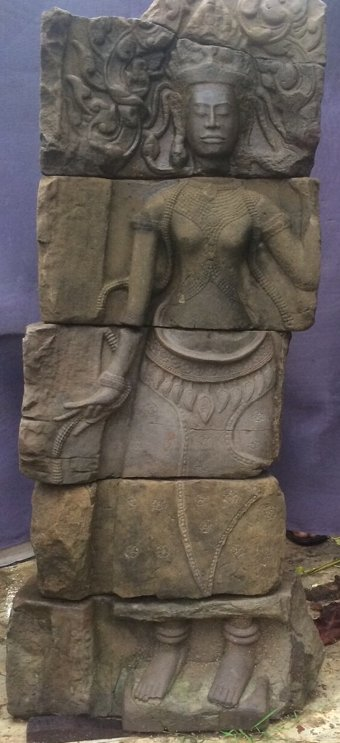 Antique KHMER APSARA PILASTER, 12TH CENTURY